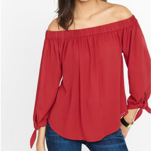 Express Red Off Shoulders Top Blouse Sz XS (E25)